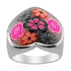 Sweetheart Artistic Murano Glass, Silver Tone Ring £5.95