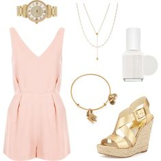 Romper Style w/ Gold by vidhip348 on Polyvore featuring polyvore fashion style Topshop MICHAEL Michael Kors Michael Kors Jennifer Zeuner Alex and Ani Essie