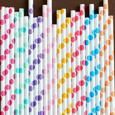 RAINBOW Polka Dot Paper Straws - this site has lots of party ideas; straws, cupcake wrappers, toppers, etc. great stuff!