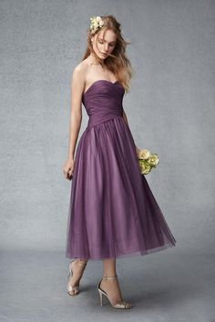 2015 Beach Plum Ballet Length Strapless Draped Tulle Bridesmaid Dresses Sash Belt Pleated Evening Gowns Prom Dresses Special Occasion Dress Yellow Bridesmaid Dress Brides Maids Dresses From Beautydoor, $99.9| Dhgate.Com