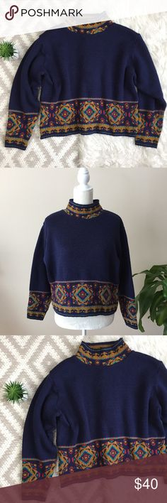 Vintage Boho Nordic Print Sweater All over navy blue. Mustard/navy/red/blue design trim.  Boho vintage feel. Cozy thick material.  Mock neck.  No flaws! Size M. Length: 21 in Bust: 22.5 in Sleeve: 21.5 in Sweaters