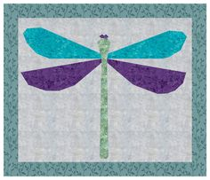 PDF Quilt Block Pattern Download Dragonfly by QuiltingGarden