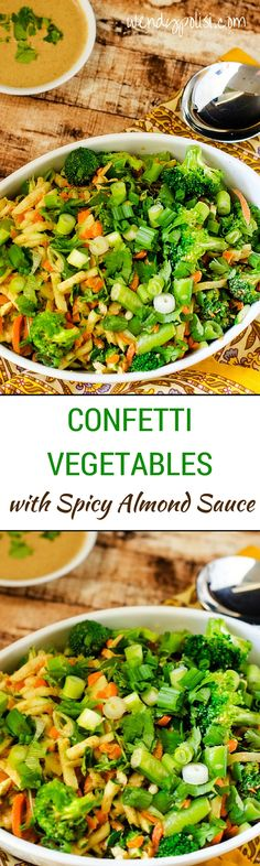 Confetti Vegetables with Spicy Almond Sauce - This vegan side dish is the perfect way to get your veggies in!  With almond butter, ginger, miso and garlic, the Spicy Almond Sauce will have you coming back for seconds!