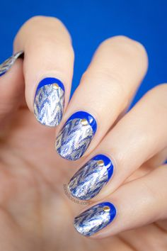 Blue and Silver Christmas Nails. HOW-TO: http://sonailicious.com/ruffian-nails-with-incoco-nail-strips-tutorial/