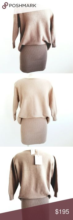 """NWT CHLOE Taupe Knit Fitted Tunic /Short Dress NWT CHLOE Taupe Kint Fitted Tunic/ Dress 3/4 sleeve,  oversized style top bottom fitted to the body, 96% cotton 4% polyester.  Going well with leggings and boots. Measurements are length 35"""" bust 36"""" hips 35"""" Chloe Tops Tunics #ShortDressesandBoots"""