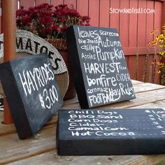 Box Lids Painted With Chalkboard Paint