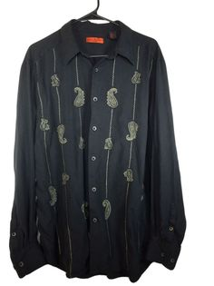 Axis 6A LARGE Mens Casual Shirt Black Paisley Long Sleeve Silk #Axis #ButtonFront