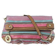 Nine West: Handbags > Hey Jute Stripe Foldover Clutch - Stripe Clutch - StyleSays