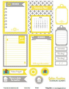Sunshine Yellow Journaling Elements - Free Printable Download - Vintage Glam Studio