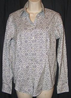$18.99 + Free Shipping.   Eddie Bauer Wrinkle Resistant White Black Button Front Career Shirt Top M