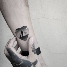 Heart shaped father and daughter landscape tattoo. Tattoo...
