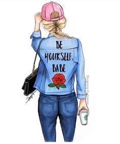 Be yourself art , Girly art print, Fashion Illustration,Motivation wall art, Inspirational poster/afflink Fashion Prints, Fashion Art, Fashion Outfits, Girly Drawings, Art And Illustration, Illustration Fashion, Fashion Illustrations, Babe, Fashion Sketches
