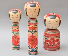 Yamagata type traditional japanese dolls (kokeshi) by craftsman Shida Kikuhiro.