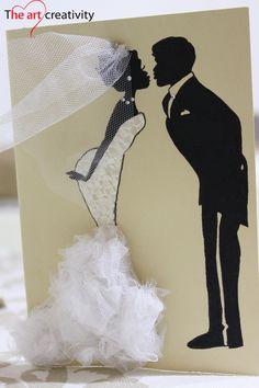 Biglietto di auguri con sposi. #sposi #wedding #tulle #velo #shiluette…