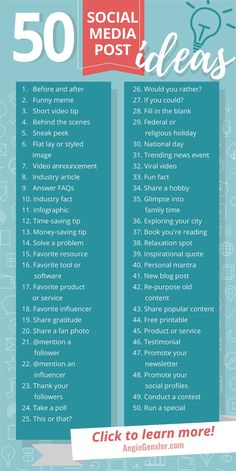 Get these 100 ideas of what to post on social media! - Do you need ideas on what you want to publish on social media? These 50 ideas are perfect for busin - media marketing ideas startups Social Marketing, Marketing Digital Online, Digital Marketing Strategy, Facebook Marketing, Inbound Marketing, Internet Marketing, Affiliate Marketing, Marketing Tools, Mobile Marketing