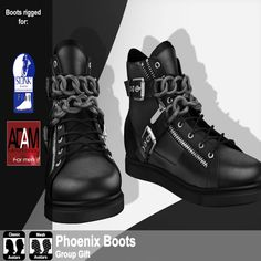 Free SL Group Gift Phoenix Male Boots. Second Life Free Group Gifts for Men. The boots work with the Adam body, slink flat feet or with classic avatars.