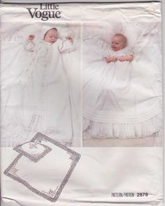 Christening Gown Pattern Size Newborn to 30 lbs Uncut Little Vogue 2878 Infant Baptism