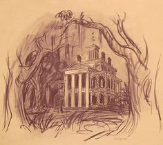 This rare concept drawing from Ken Anderson, courtesy of our friends at the Walt Disney Imagineering Art Library, was made in Haunted Mansion Disney, Haunted Mansion Tattoo, Retro Disney, Disney Love, Disney Magic, Disney Art, Disney Fantasy, Disney Theme, Disney Stuff