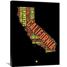 Naxart Studio 'California Word Cloud 1' Stretched Canvas Wall Art