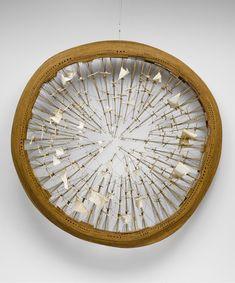"H. M. S. O. Fabric, string, and wood, 90"" (228.6 cm) diameter x 10"" (25.4 cm)."