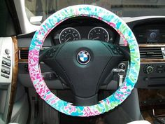 So cute lol maybe I should get this for my bmw. Lilly Pulitzer Let's Cha Cha Steering Wheel Cover Lyons Lyons Lyons Lyons Lyons Davidson Lilly Pulitzer, Cute Cars, Wheel Cover, Future Car, My Ride, Girly Things, Girly Stuff, Fun Things, Just In Case