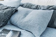 Melange blue linen pillow case, softened with stone washing, made of OEKO tex certified organic pure linen fabric. It is soft, pleasant to a skin linen, that is high quality and very durable. Modern light denim texture will add a lovely accent colour to your bedroom. Closure: envelope