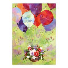 """Postkarte """"Luftballons mit Blumenkorb"""" #Grätz"""