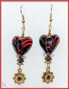 Glass Heart in Red and Black with Swarovski chaton and heart drop
