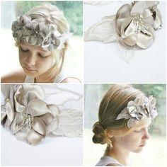 Floral Bridal Headband Silver Gray