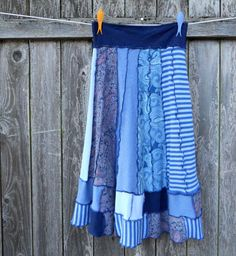 Recycled T Shirt Skirt The Blues Upcycled Clothing by ThankfulRose, $50.00