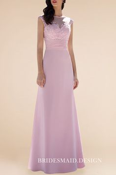 Alluring Lace Appliqued Illusion Neck Pink Chiffon A-line Long Bridesmaid  Dress d9f01ef36d1d