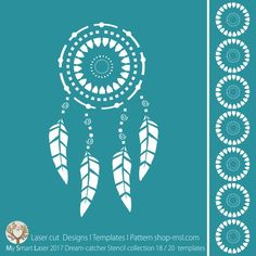 BUY Template - Dream catcher stencil design for laser cutting. 20 designer borders and main mandala design. Hoop Dreams, Bad Dreams, Stencil Patterns, Stencil Designs, Dreams And Nightmares, Silhouette Portrait, Mandala Design, Kids Decor, Mother Day Gifts