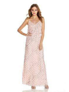 Blush Pink and Silver Sequin V Neck Strappy Dress