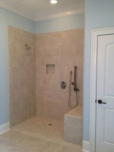 Wheelchair accessible shower in master bath, controls accessible sitting or standing