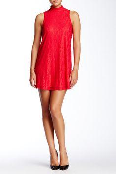Socialite Sleeveless Lace Mock Neck Shift Dress