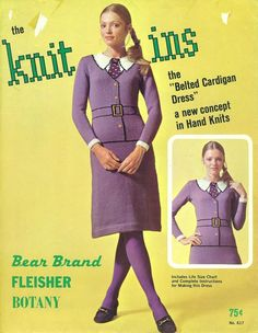 """BELTED CARDIGAN DRESS """"Knit-Ins"""" Pattern by Bear Brand Fleisher Botany Knitting 1960s. Someone find this and knit it for me, please!"""