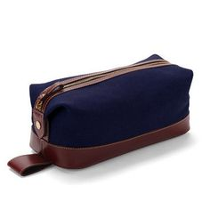 Men's Classic Washbag in Navy Canvas  Smooth Cognac - Aspinal of London