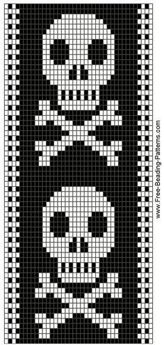 Skull bead pattern, so Hailey. Beading Patterns Free, Bead Loom Patterns, Peyote Patterns, Bracelet Patterns, Cross Stitch Bookmarks, Cross Stitch Charts, Cross Stitch Patterns, Knitting Charts, Knitting Patterns
