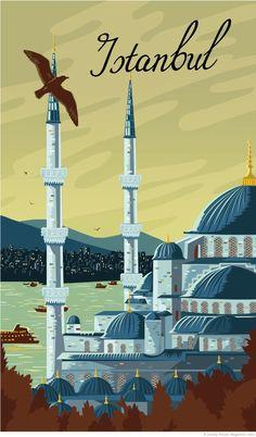 Istanbul Travel Poster on Behance Retro Poster, Poster On, Poster Vintage, Istanbul Travel Guide, Cute Monster Illustration, Travel Illustration, Pub Vintage, Vintage Kitchen, Wedding Vintage