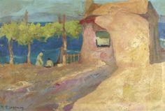 .:. Οικονόμου Μιχαήλ – Michail Oikonomou [1888-1933]HOUSE AND FIGURES BY THE SEA