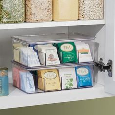 Use our Linus Tea Storage Box to sort and store teabags, sweetener packets, non-dairy creamers and other small items. With eight deep compartments, this clear tea organizer keeps contents upright and… Kitchen Organization Pantry, Diy Kitchen Storage, Organization Hacks, Organized Pantry, Kitchen Pantry, Bathroom Closet Organization, Medicine Cabinet Organization, Refrigerator Organization, Kitchen Organization