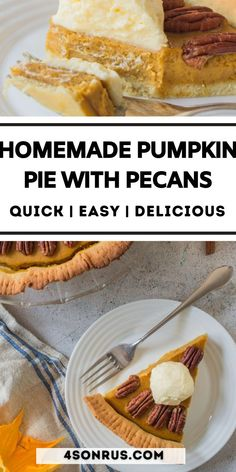 Homemade pumpkin pie with pecans is the dessert you need this holiday season. Perfect for Thanksgiving, Christmas or any of the winter holidays, this pumpkin pecan pie will have everyone asking for seconds! #thanksgiving #pie #pumpkinpie Pumpkin Pecan Pie, Homemade Pumpkin Pie, Thanksgiving Recipes, Baked Goods, Baking, Cake, Desserts, Food, Best Recipes