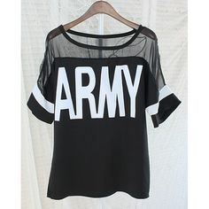 Casual Voile Splicing Scoop Neck Letter Print Half Sleeve Women's T-Shirt, BLACK, ONE SIZE in Tees & T-Shirts | DressLily.com