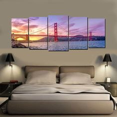 Skylines Five Piece Canvas Wall Art High quality wall art available in seven designs - Chicago River, Chicago Skyline, Dubai Coast, Golden Gate Bridge, Hong Kong, New York and Bangkok City. #wallart #homedecor #decor #art #interiordesign