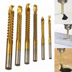 """6 maschi per filettare HSS Titanio M3-4-5-6-8-10 metrico Drill Tap Bit 1//4/"""" Hex"""