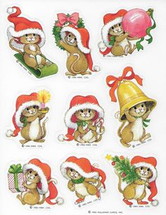 Vintage Single Sheet of Hallmark Autocollants Stickers Labels - Various Holiday Mice Mouse ID 2019 Christmas Pictures, Christmas Art, Vintage Christmas, Hallmark Christmas, Christmas Stickers, Alfabeto Animal, Free To Use Images, Single Sheets, Christmas Printables