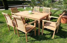 Edle TEAK Gartengarnitur TISCH Mit 6 Sessel ! Holz Sitzgruppe  Gartengarnitur Garten Garnitur Outdoor Lounge Möbel