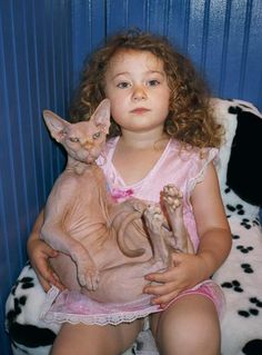 "Robin Schwartz | With a Sphynx that looks like ""Bob"" will when he grows up."