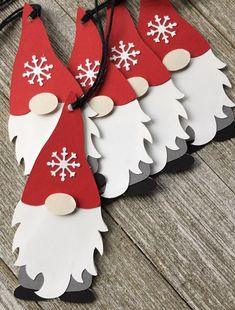 Gnome Gift Tags Holiday Gnome Tags Set of 6 Paper Christmas Decorations, Christmas Paper Crafts, Christmas Projects, Holiday Crafts, Gift Crafts, Nordic Christmas, Christmas Holidays, Christmas Cards, Christmas Ornaments