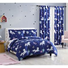 """Aubrie Home Navy Unicorn 84"""" Window Curtains 2 Panel Pair Set, Blue Purple Teal Flowers - GreyDock.com Twin Size Bed Sheets, Queen Bed Sheets, Twin Comforter Sets, Bed Sheet Sets, Nautical Bedding Sets, Teal Bedding, Teal Flowers, Kids Comforters, Purple Teal"""